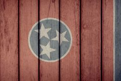 État d'USA Tennessee Flag Wooden Fence image stock