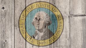 État d'USA Washington Seal Wooden Fence illustration stock
