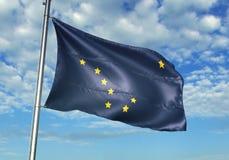 État de l'Alaska de drapeau des Etats-Unis ondulant avec le ciel sur l'illustration 3d réaliste de fond illustration stock