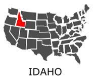 État de l'Idaho sur la carte des Etats-Unis Photo libre de droits