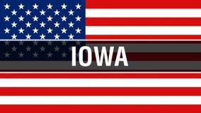 État de l'Iowa sur un fond de drapeau des Etats-Unis, rendu 3D Drapeau des Etats-Unis d'Amérique ondulant dans le vent Drapeau am illustration stock