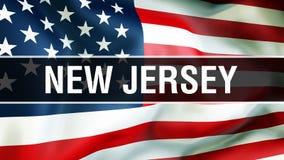 État de New Jersey sur un fond de drapeau des Etats-Unis, rendu 3D Drapeau des Etats-Unis d'Amérique ondulant dans le vent Indica illustration de vecteur