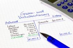 État des résultats - recettes et dépenses - Allemand photographie stock libre de droits