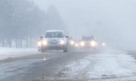 État des routes tempête 3-14-2017 - ni d'hiver de Pâques de ` Photographie stock