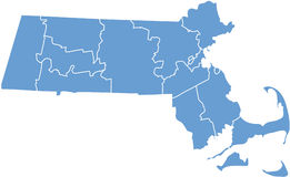 État du Massachusetts par des comtés illustration libre de droits