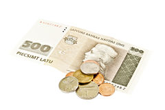 État letton cinq cents billets de banque de lats. Image stock