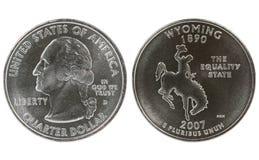 état quart Wyoming de pièce de monnaie Photo libre de droits