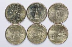 2000 états d'USA divisent un ensemble complet de 5 pièces de monnaie utilisées Sont situés dans l'ordre de leur libérer et de joi Photos libres de droits