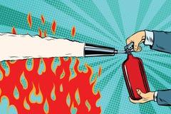 Éteignez-vous les flammes avec un extincteur illustration de vecteur
