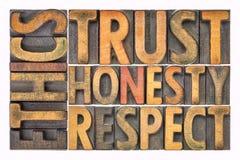 Éthique, confiance, honnêteté, abrégé sur mot de respect dans le type en bois photographie stock