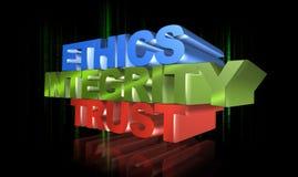 Éthique, intégrité et confiance illustration stock