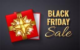 Étincelle d'or de scintillement de vente de Black Friday Boîte-cadeau rouge ouvert avec l'arc d'or et la vue supérieure de ruban  illustration stock