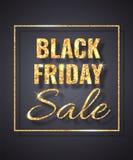 Étincelle d'or de scintillement de vente de Black Friday sur le fond foncé Illustration de vecteur illustration stock