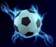Étincelle de ballon de football avec le tonnerre bleu illustration libre de droits