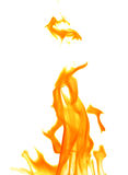 Étincelle orange de flamme d'isolement sur le blanc Image libre de droits