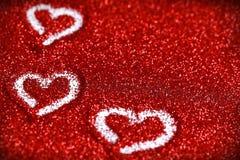 Étincelle rouge d'amour de fond d'abrégé sur Saint-Valentin de coeurs de scintillement Photos libres de droits