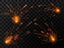 Étincelles réalistes du feu Suscitez l'écoulement de la soudure en acier ou du travail de coupe en métal L'explosion électrique m illustration stock