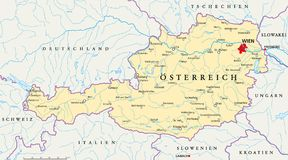 Étiquetage allemand de carte politique de l'Autriche illustration de vecteur