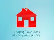Étiquette à la maison heureuse Photo stock