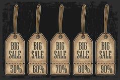 Étiquette, autocollant et label accrochants réglés de vente Prix discount avec jusqu'à 50 - 90 pour cent de textes Illustration de Vecteur