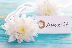 Étiquette avec Auszeit Image stock