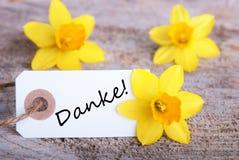 Étiquette avec Danke Photos libres de droits