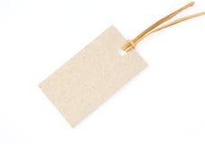 Étiquette avec la corde de paille Photos libres de droits