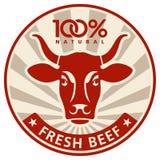 Étiquette avec la tête d'une vache Images stock