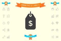 Étiquette avec le symbole du dollar Icône de prix à payer pour le téléchargement illustration libre de droits