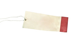 Étiquette blanc attachée avec la chaîne de caractères brune Photo stock
