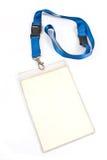 Étiquette blanc de carte d'identification Photographie stock