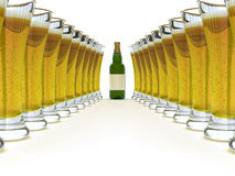 étiquette blanc de verre à bouteilles de bière Photographie stock