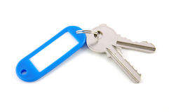 Étiquette blanc et clés Images libres de droits