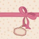 Étiquette blanc et proue rose Photo stock