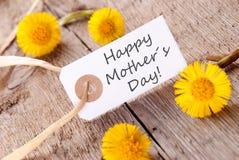 Étiquette blanche avec le jour de mères heureux Image libre de droits