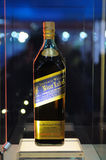 Étiquette bleue de Johnnie Walker Photographie stock