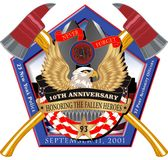 Étiquette croisée de hache du Pentagone 911 Photos libres de droits
