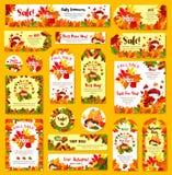 Étiquette d'affiche de vecteur de remise de boutique de vente d'automne illustration libre de droits