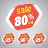 Étiquette d'autocollant de vente pour lancer la conception sur le marché au détail d'élément Photographie stock