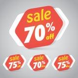 Étiquette d'autocollant de vente pour lancer la conception sur le marché au détail d'élément avec 70% 75%  Illustration de vecteu Photo stock
