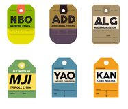 Étiquette de bagages de Nairobi Addis Ababa Alger Tripoli yaounde Kano Illustration Stock