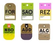 Étiquette de bagages de Paolo Rio de Janeiro de sao de Nairobi Addis Ababa Alger Fortaleza Illustration de Vecteur