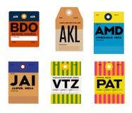 Étiquette de bagages de Patna Bandung Auckland Ahmedabad de visakhapatnam de Jaipur Illustration de Vecteur