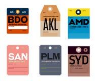 Étiquette de bagages de San Diego Palembang Sydney Bandung Auckland Ahmedabad Illustration Stock
