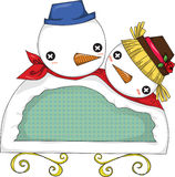 Étiquette de bonhomme de neige illustration libre de droits