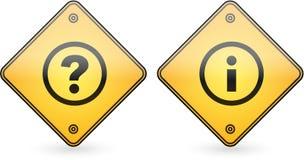 Étiquette de bouton de repère de question et d'information Photo stock