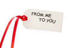 Étiquette de cadeau avec le texte Photographie stock libre de droits