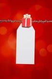 Étiquette de cadeau d'anniversaire de Noël Images stock