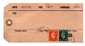 étiquette de colis des années 30 Photographie stock libre de droits