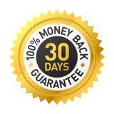étiquette de garantie de dos de ?oney de 30 jours Images libres de droits